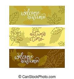 Three autumn banners, vector illustration