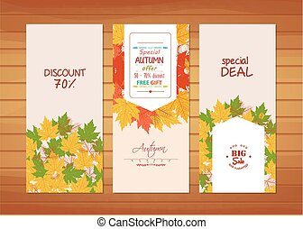 Three autumn banners with colorful