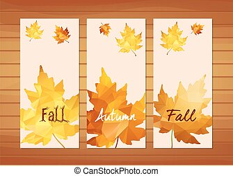 Three autumn banners with maple