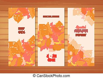 Three autumn banners with stylized