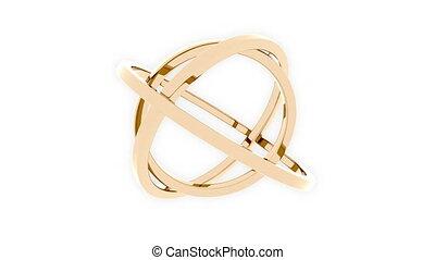 Three-axis gimbal made of golden rings. Balance, mechanical...