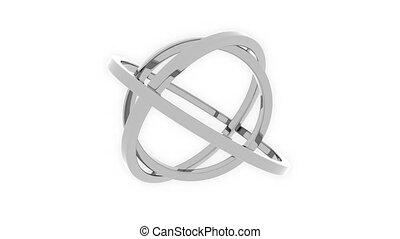 Three-axis gimbal made of silver rings. Balance, mechanical...