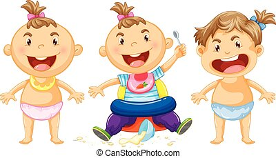 Three babies with big smile illustration