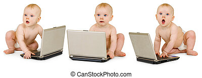 Three baby in diapers with laptops on a white background - collage