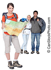 Three backpackers