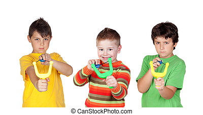 Three bad boys with slingshot isolated on a white background