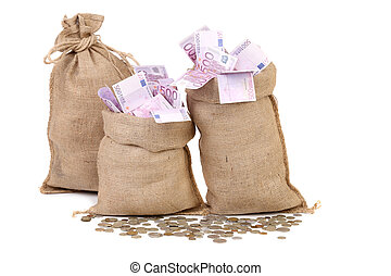 Three bags with many euro banknotes.