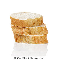 three baguette slices on white