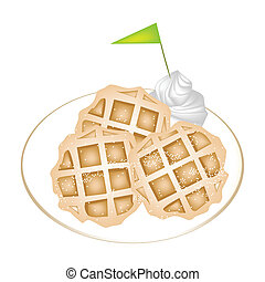 Three Baked Waffles with Icing and Whipped Cream - Freshly...
