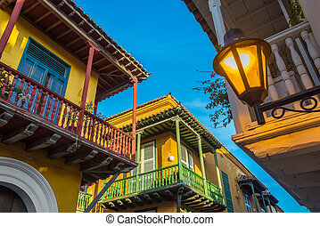 Three Balconies - Street corner in Cartagena, Colombia where...