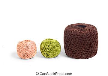 three ball of yarn knitting isolated on white background