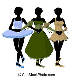 Three Ballerinas Illustration Silhouette