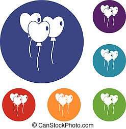 Three balloons in the shape of heart icons set