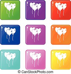 Three balloons in the shape of heart icons 9 set