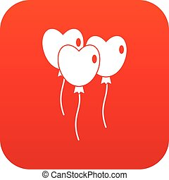 Three balloons in the shape of heart icon digital red