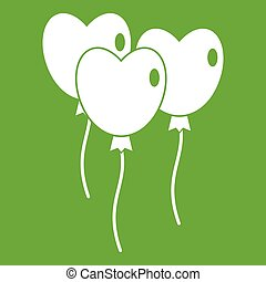 Three balloons in the shape of heart icon green