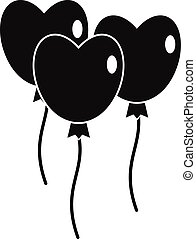 Three balloons in the shape of heart icon