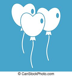 Three balloons in the shape of heart icon white