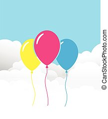 three balloons on a cloud background