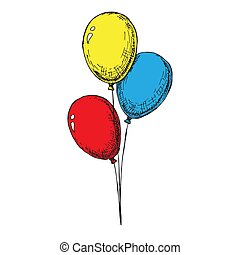 Three balloons on a string. Hand drawn, isolated on a white background. Vector