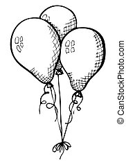 Three balloons on a string. Hand drawn, isolated on a white background. Vector illustration