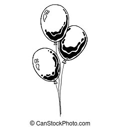 Three balloons on a string. Hand drawn, isolated on a white background. Vector illustration.