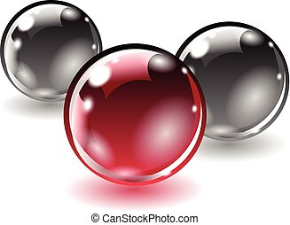 Three balls of different colors on a white background.
