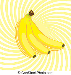 Three Banana. Illustration on an abstract yellow background
