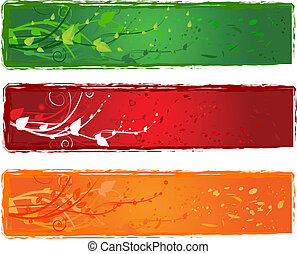 Three banner with swirl design in bright colors