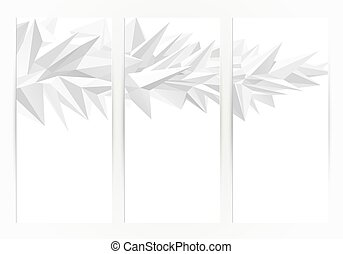 Three banners. Abstract group of triangle elements for design on the white background.