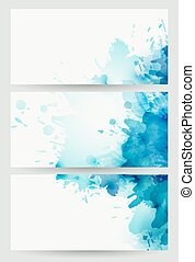 three banners, abstract headers with blue blots