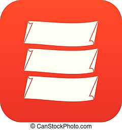 Three banners icon digital red