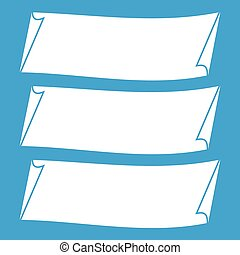 Three banners icon white isolated on blue background vector...