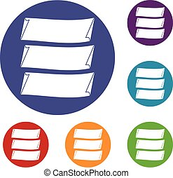 Three banners icons set in flat circle reb, blue and green...