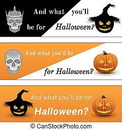 Three banners on Halloween