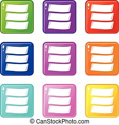 Three banners set 9 - Three banners icons of 9 color set...