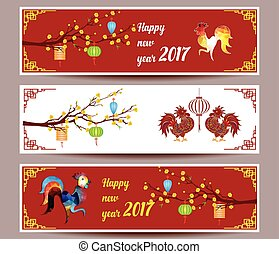 Three banners set for chinese new year of rooster