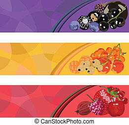 three banners with berries of diffe