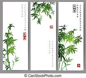 Three banners with green bamboo trees.