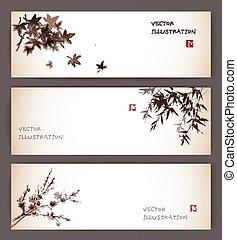 Three banners with maple, bamboo and sakura - Three banners...