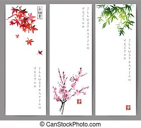 Three banners with maple, bamboo and sakura