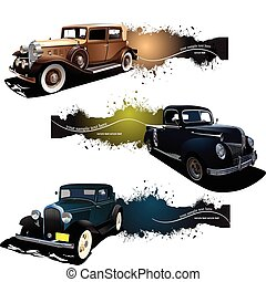 Three banners with old car. Vector