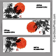 Three banners with red sun and bamboo trees.