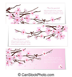 Three banners with Sakura flowers - Three banners with fresh...