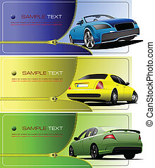 Three banners with Zipper open car. Vector illustration