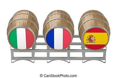 three barrels wine with flags of producing countries