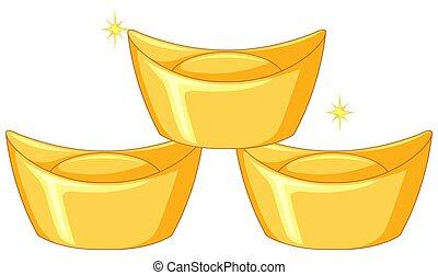 Three bars of chinese gold