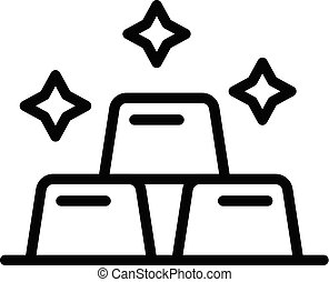 Three bars of gold icon, outline style