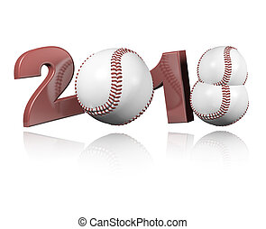 Three Baseball balls 2018 Design with a white Background