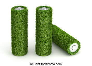 Three battery from grass